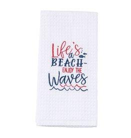 Mud Pie Nautical Waffle Weave Towel w Lifes a Beach Enjoy The Waves