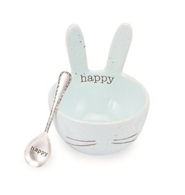 Mud Pie Speckled Bunny Ceramic Dip Bowl - Blue