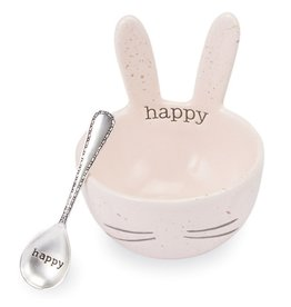 Mud Pie Speckled Bunny Ceramic Dip Bowl - Pink