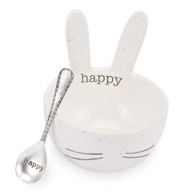 Mud Pie Speckled Bunny Ceramic Dip Bowl - White