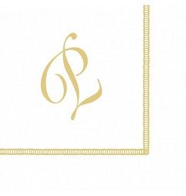 Caspari Monogram Initial P Paper Cocktail Napkins 20pk