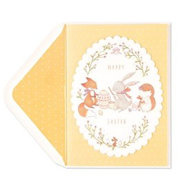 Papyrus Greetings Easter Card Bunny and Friends Painting Egg
