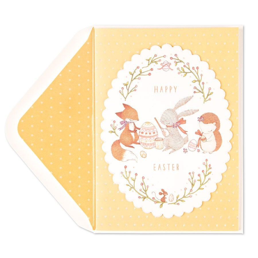 Papyrus Greetings Easter Card Bunny And Friends Painting Egg Digs
