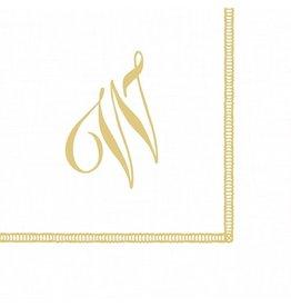 Caspari Monogram Initial W Paper Cocktail Napkins 20pk