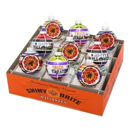 Christopher Radko Shiny Brite Halloween Ornaments Reflector Rounds 9pc