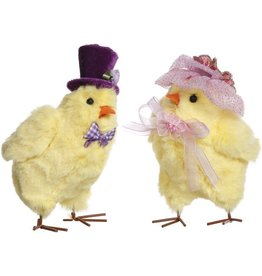 Mark Roberts Spring Easter Chicks Couple in Purple Pink Hats 51-85274
