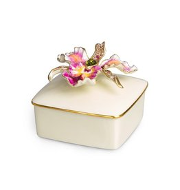 Jay Strongwater Decorative Boxes Oriana Orchid Porcelain Box - Flora