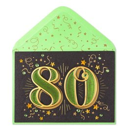 Papyrus Greetings Birthday Card 80th With Stars
