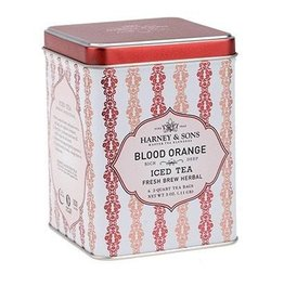 Harney & Sons Tea Blood Orange Iced Tea Fresh Brew Herbal 3oz Tin w 20 Tea Pouches