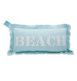 Mud Pie Canvas Pillow 11x21 Lumbar w Frayed Edge - Beach