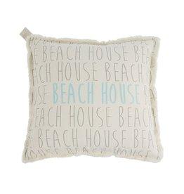 Mud Pie Canvas Pillow 22x22 w Frayed Edge - Beach House