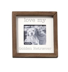 Mud Pie Love My Golden Retriever Dog Breed Small Photo Plaque Pet Gift 5x5in