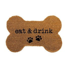 Mud Pie Woven Coir Bone Shape Dog Bowl Placemat w Eat and Drink
