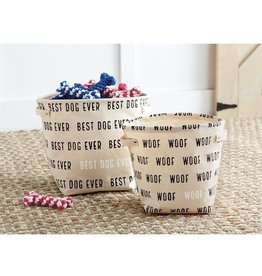 Mud Pie Canvas Dog Toy Bins Set of 2 w Best Dog Ever and Woof