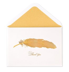 Papyrus Greetings Thank You Card Gold Iridescent Feather Card
