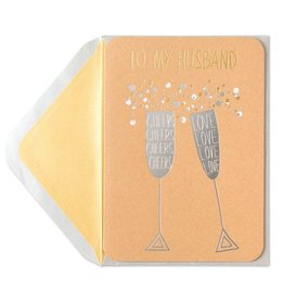 Papyrus Greetings Birthday Card For Husband Silver Champagne Flutes by Papyrus