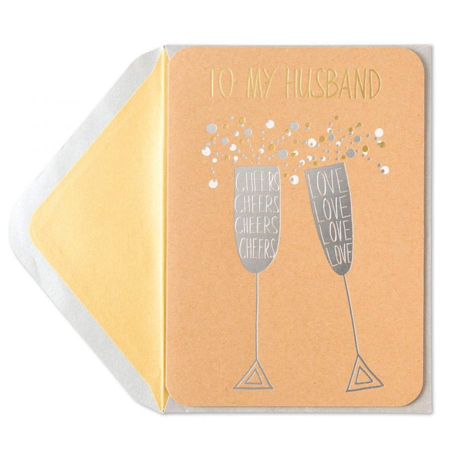 Papyrus Greetings Birthday Card For Husband Silver Champagne Flutes ...