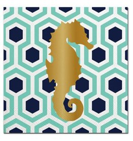 Slant Foil Seahorse Cocktail Beverage Napkins 20ct