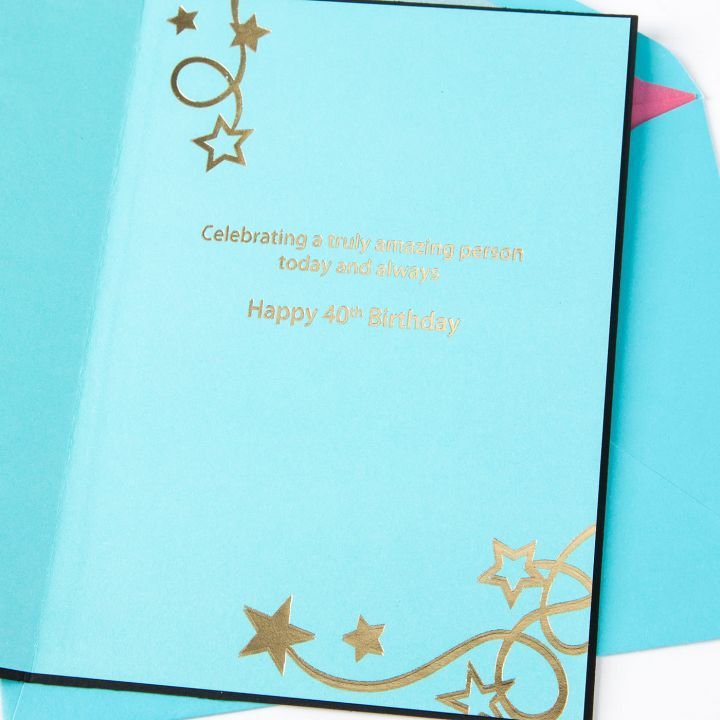 Papyrus Greetings Birthday Card 40th W Stars Laser Cut Digs N Gifts