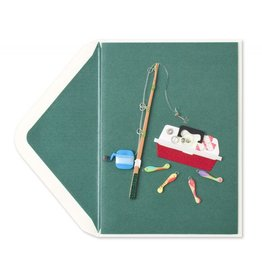 Papyrus Greetings Birthday Card Handmade Fishing Pole w Tackle Box