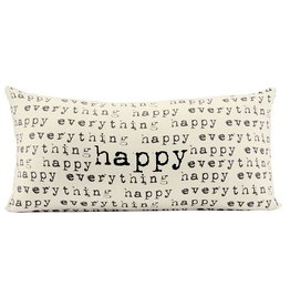 Mud Pie Canvas Pillow w Printed Pattern Repeat HAPPY EVERYTHING 13x34