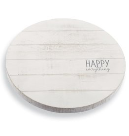 Mud Pie Lazy Susan White Washed Wood w Happy Everything