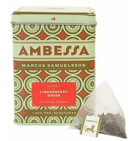 Harney & Sons Tea Ambessa Lingonberry Green Tea Blend Tin w 20 Saches