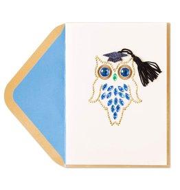 Papyrus Greetings Graduation Card Die-Cut Blue Jeweled Grad Owl