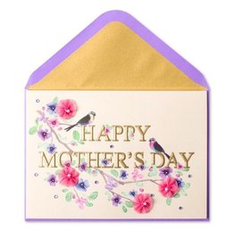 Papyrus Greetings Mothers Day Card Elegant Letters Birds Flowers on Branch