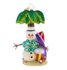 Christopher Radko Christmas Ornament Surfs Up Snowman