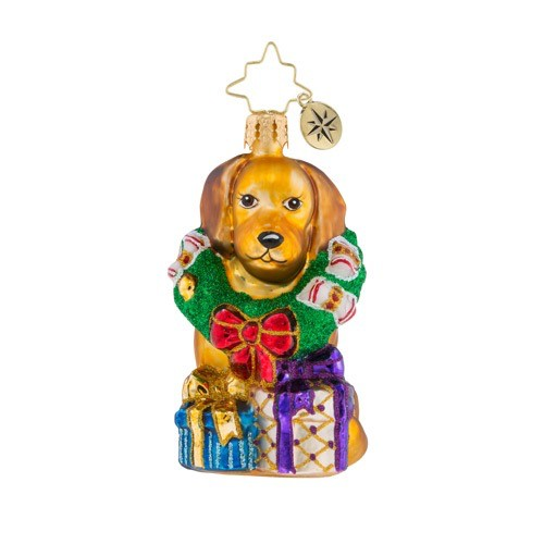 christopher radko christmas ornament little gem the retriever gets it