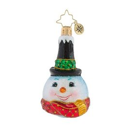 Christopher Radko Christmas Ornament Little Gem Snowman Snowy Stove Pipe