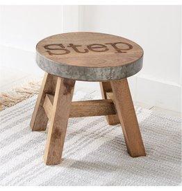 Mud Pie Wood and Tin Step Stool 10x10 Dia