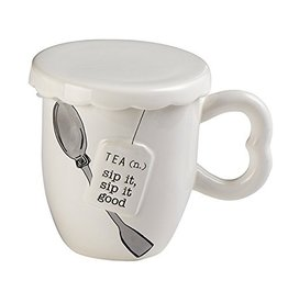 Mud Pie Covered Tea Mug w Spoon Set - Sip It Sip it Good - Par-Tea