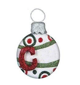 Kurt Adler Mulit Color Glitter Ball Ornament w Letter Initial C