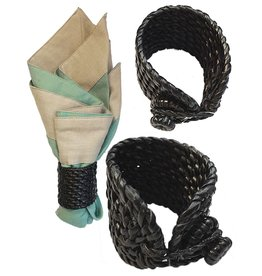 Mud Pie Rattan Napkin Rings Set of 6 - Black