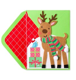 Papyrus Greetings Christmas Card Felt Reindeer w Presents