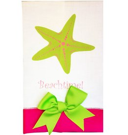 Mpressions Guest Towel w Bow and Printed Beachtime n Starfish