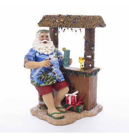 Kurt Adler Fabriche Santa Beach Santa Sitting At Tiki Bar Table Piece