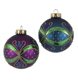 Kurt Adler Christmas Ball Ornaments 65MM Set of 4 Glass Peacock Colors