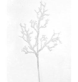 Kurt Adler White Glitter Coral Spray 25L Inch Christmas Floral