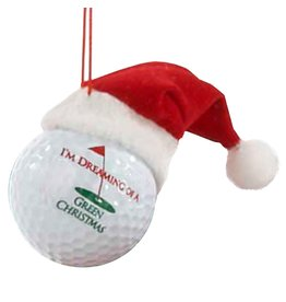 Kurt Adler Golf Ball Ornament Santa Hat Dreaming of a Green Christmas