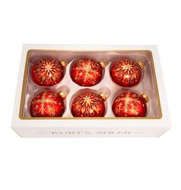 Kurt Adler Christmas Ball Ornaments 80MM Set of 6 Red w Gold Snowflake