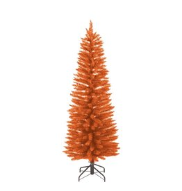 Kurt Adler Pre-Lit Orange Slim Tree 6FT Halloween Christmas Tree