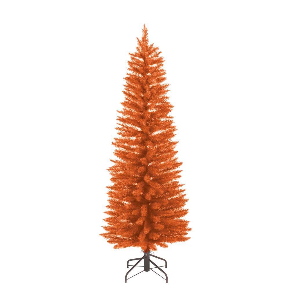 Kurt Adler Pre-Lit Orange Slim Tree 6FT Halloween Christmas Tree