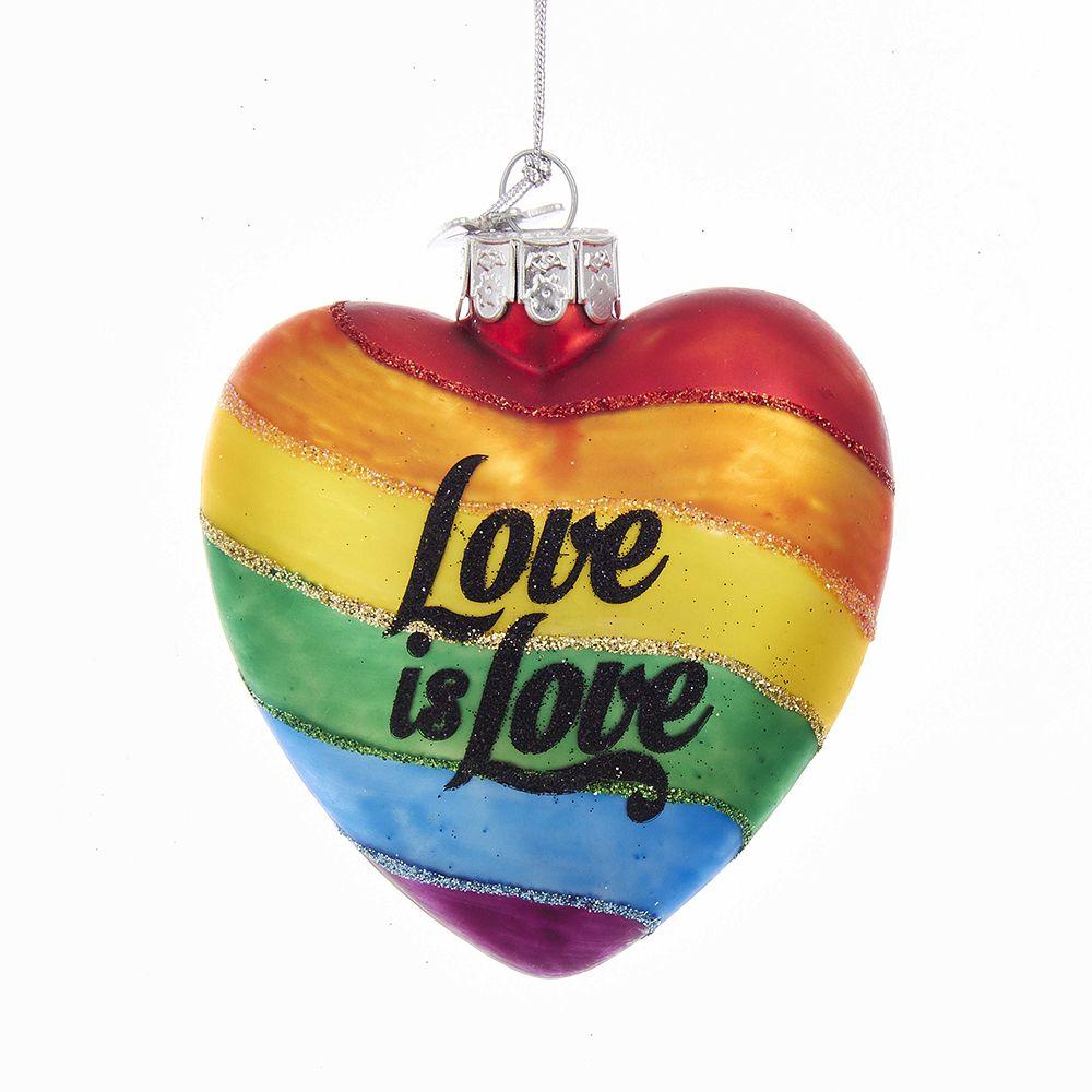 Kurt Adler Nobel Gems Gay Pride Heart w Love is Love Ornament 4 inch