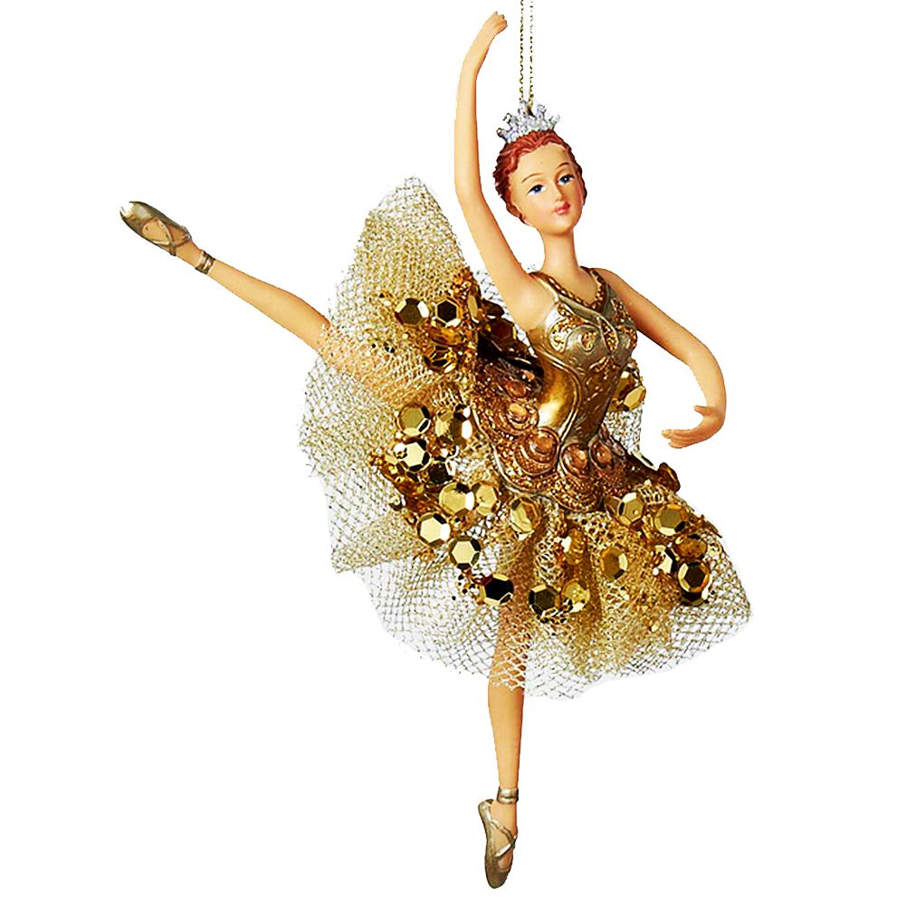 Kurt Adler Ballerina Ornament Gold Tutu Ornament