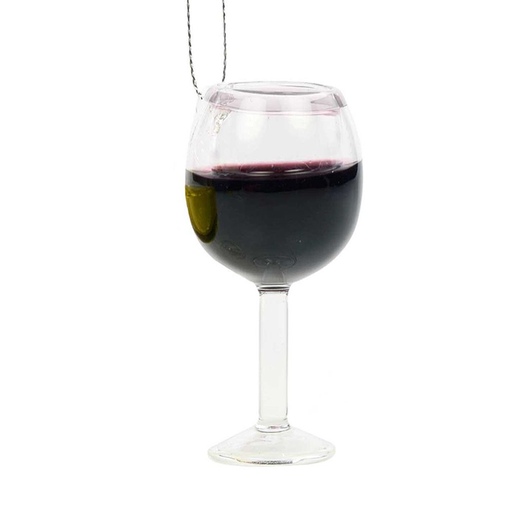 Kurt Adler Glass Wine Glass Ornament T0748-A Red Wine