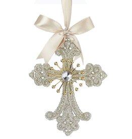 Kurt Adler Vintage Glamour Platinum Glitter Cross Ornament -A
