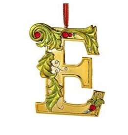 Kurt Adler Gold Initial Ornament w Holly on Red Ribbon Hanger Letter E